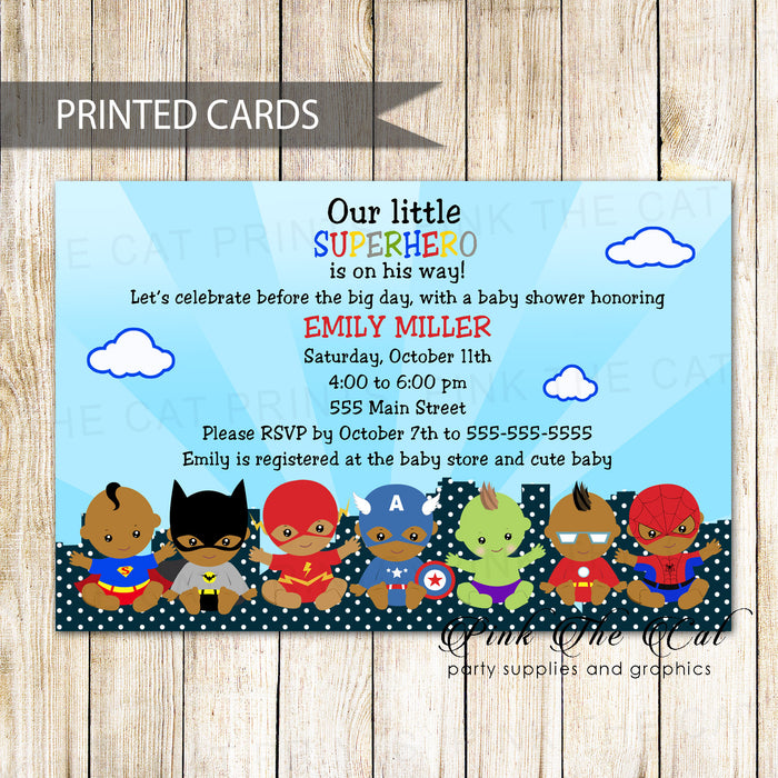 30 superheroes thank you cards baby shower african