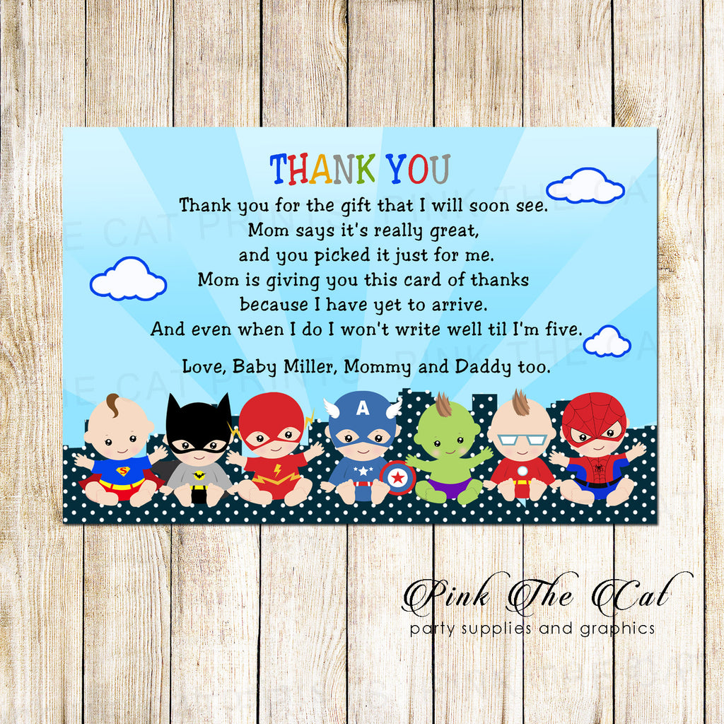 30 superheroes thank you cards boy birthday baby shower