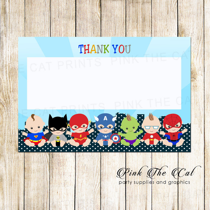 30 thank you cards blank baby superheroes + envelopes