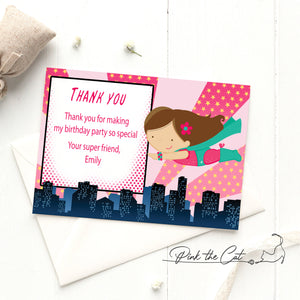 Girl superhero thank you card