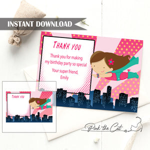 Girl superhero thank you card birthday baby shower editable template
