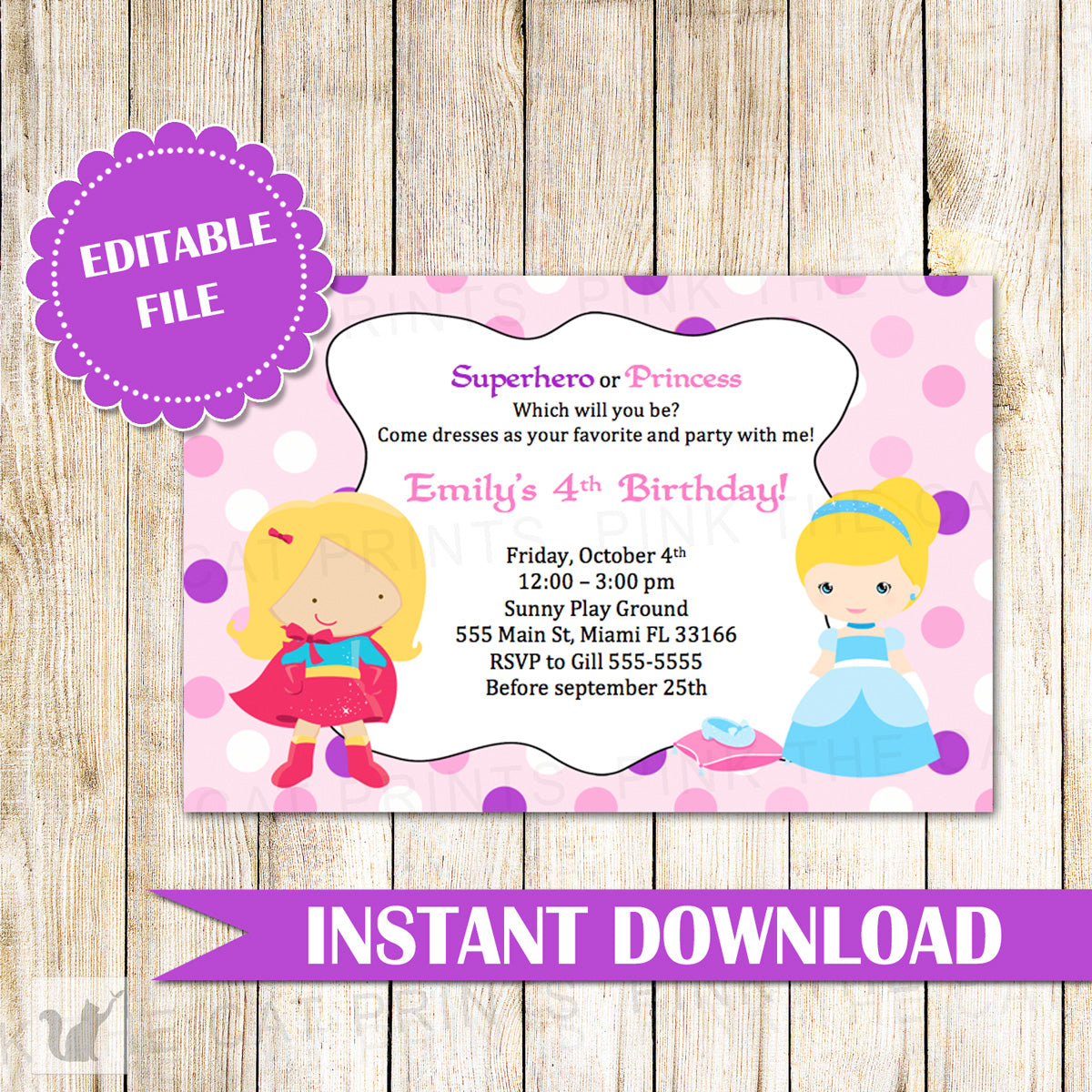 Superhero princess girls invitation birthday party printable superhero girls invitation birthday party printable editable filr filmwisefo