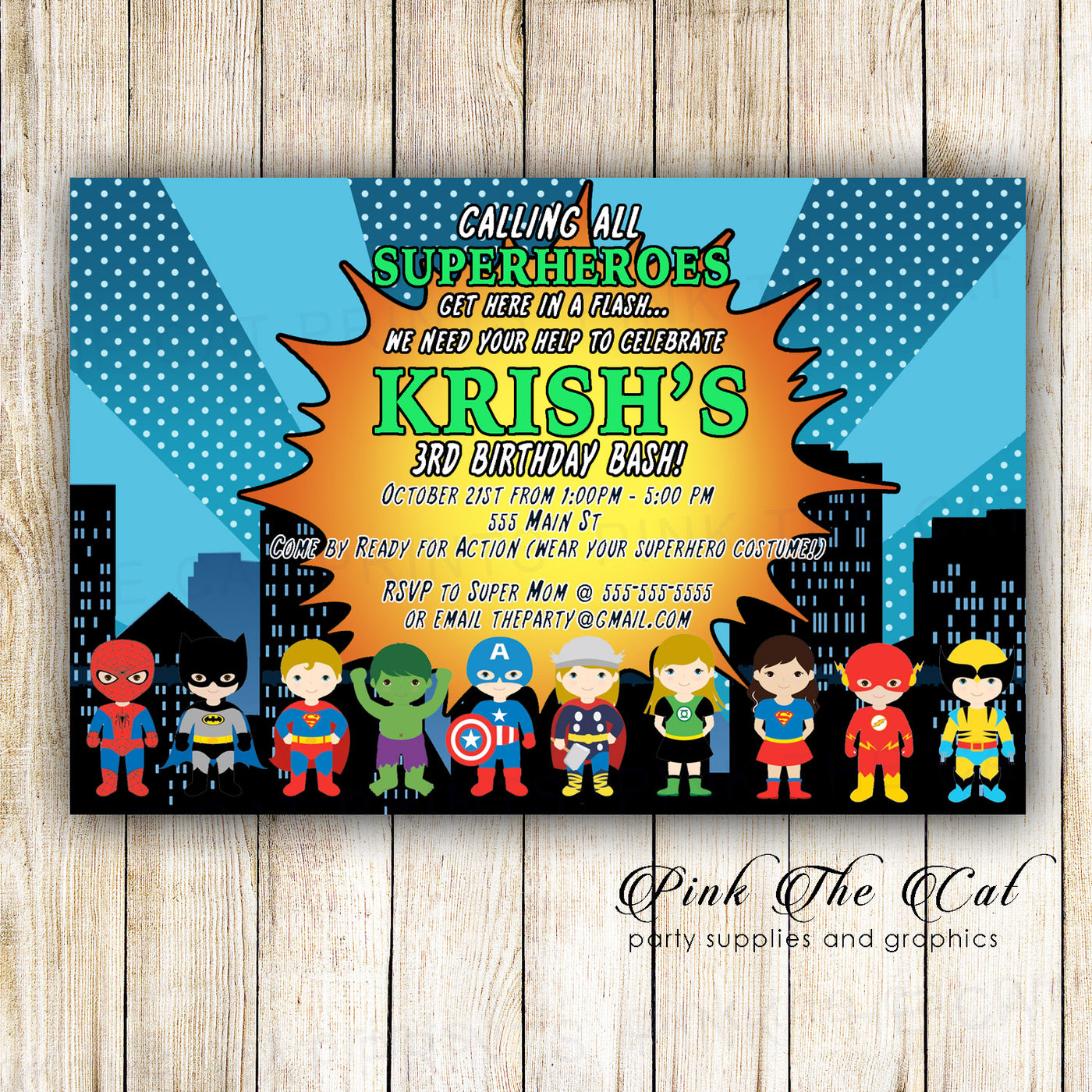 photograph relating to Printable Superhero Invitations named Comedian Superhero Invites Birthday Youngster Shower Printable