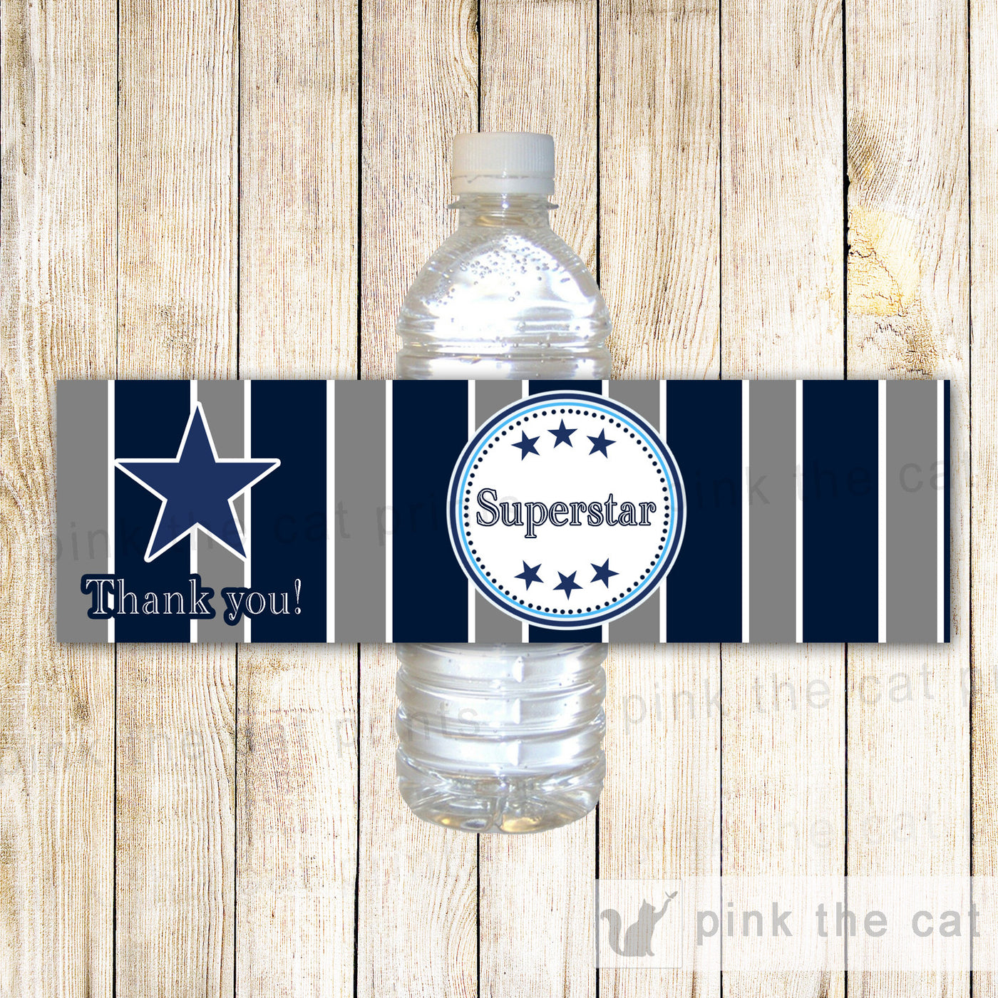 Superstar American Football Sports Bottle Label Birthday Baby Shower