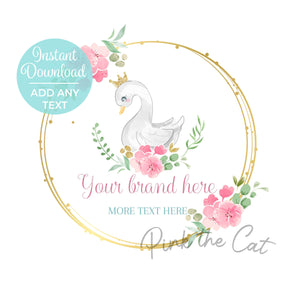 Premade princess swan logo design