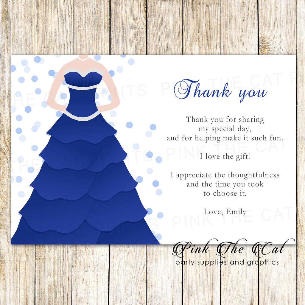 100 thank you cards sweet 16 quinceanera blue dress confetti