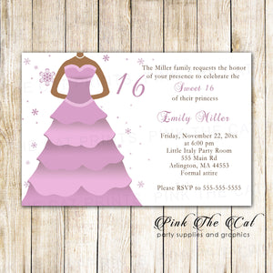 100 invitations sweet 16 quinceanera pink lillac dress with envelopes