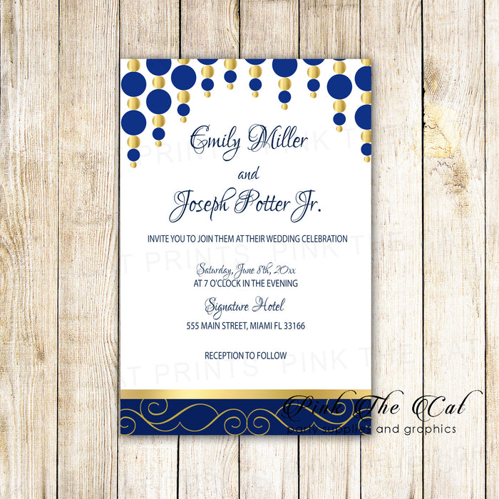 Wedding invitations blue gold ornaments printable