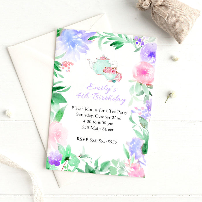 Tea party invitation watercolor printable 2