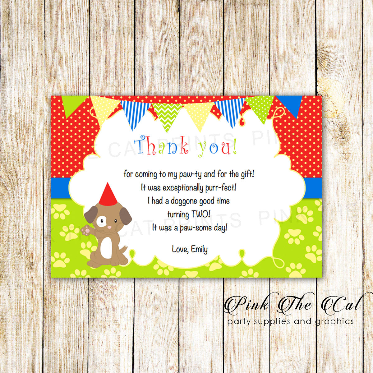 30 Puppy Thank You Card Kids Birthday Red Green Blue Pink The Cat