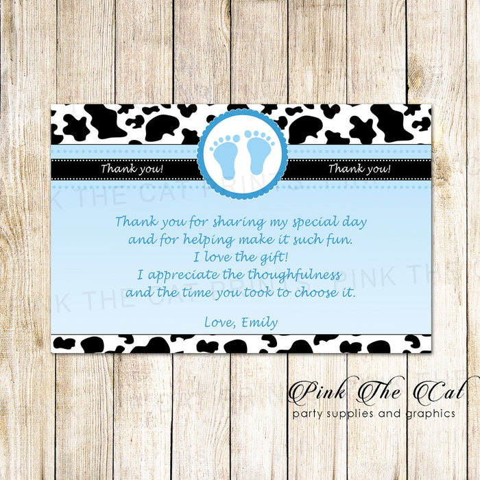 30 Cowhide thank you card boy baby shower blue black