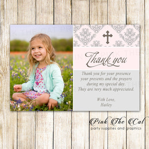 30 Thank You Cards Pink Silver Girl Baptism Christening