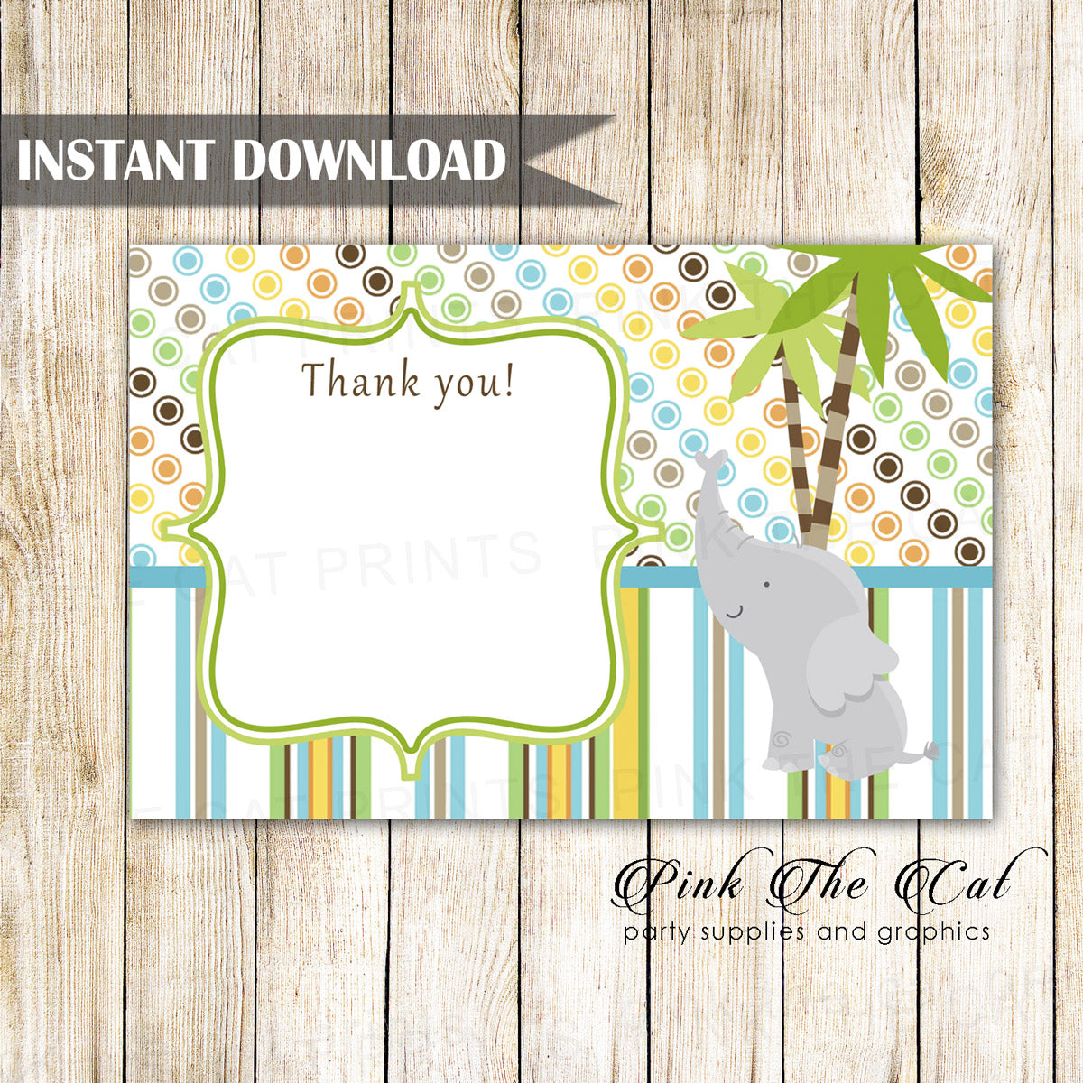 Elephant Thank You Card Birthday Baby Shower Printable Download Now Pink The Cat