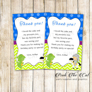 30 Dragon knight thank you card boy baby shower birthday