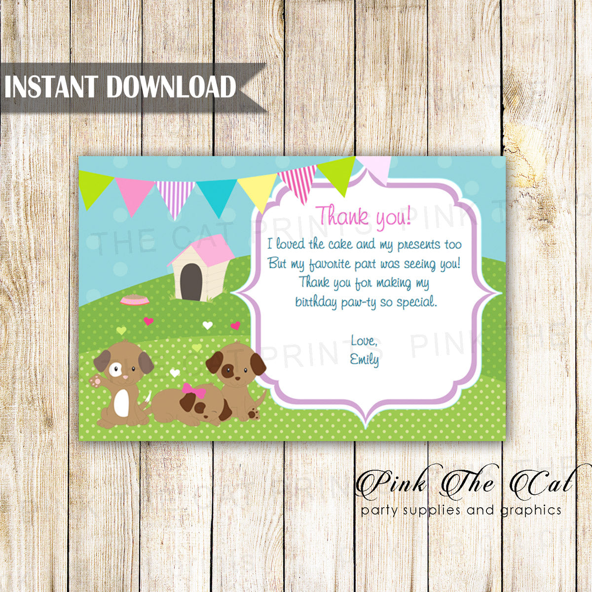 Puppy Thank You Card Kids Birthday Baby Shower Printable Pink The Cat