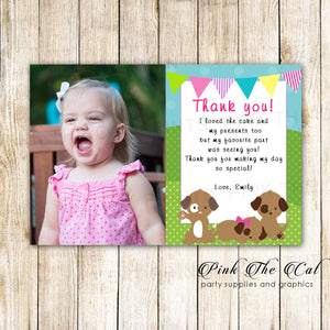 30 thank you cards puppy kids girl birthday with photo