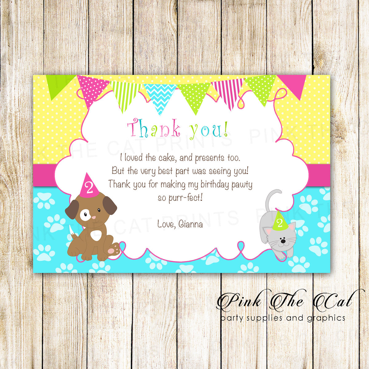 photo regarding Printable Thank You Cards for Kids called Pet dog kitten thank oneself card young children lady birthday printable