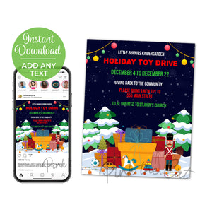 Holiday christmas toy drive flyer printable