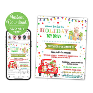 Holiday christmas kids toy drive flyer printable