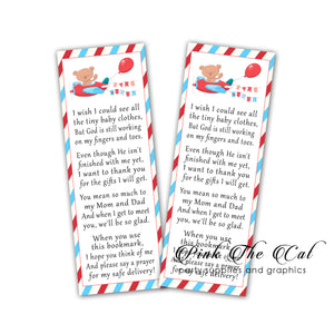 Travel bear plane bookmarks baby shower favors printable