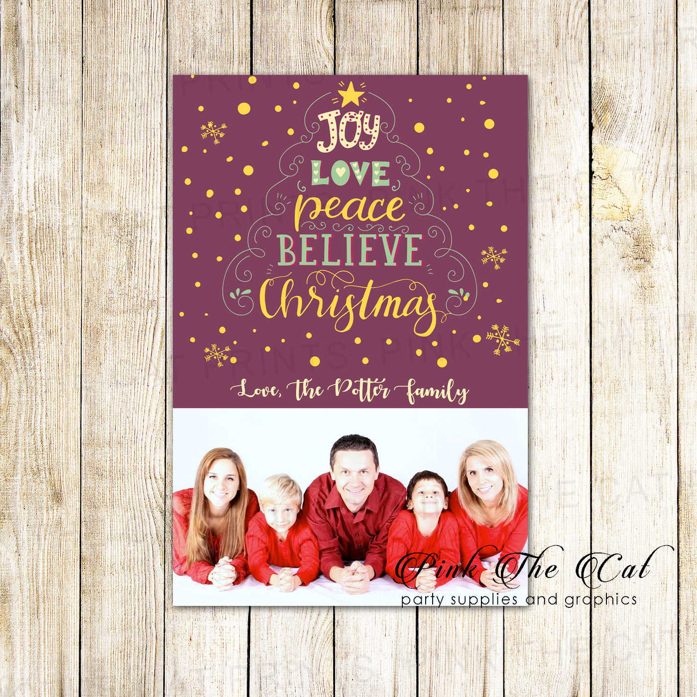 30 Holiday christmas greeting cards word tree with photo ...