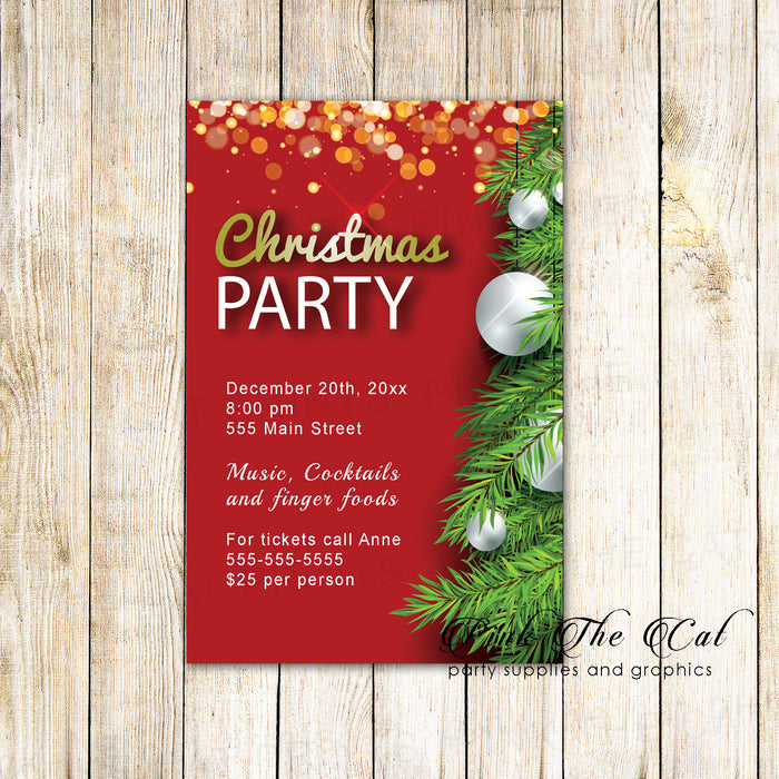 30 Holiday christmas party invitation red tree ornaments