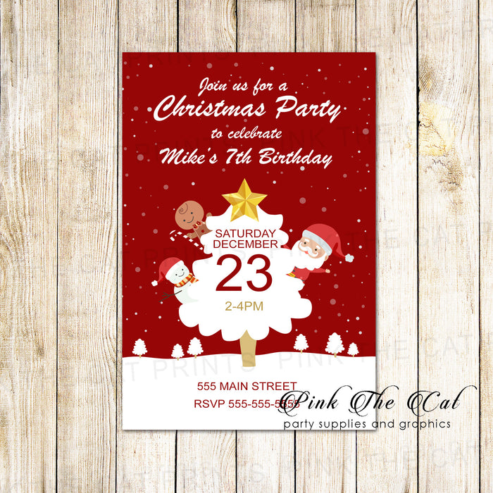 30 Holiday christmas party invitation kids tree snow