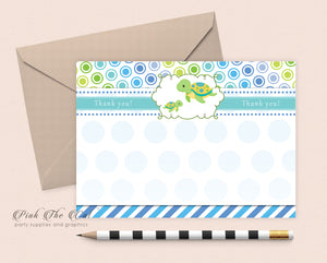 Turtle baby shower thank you card template printable