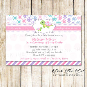 Turtle Baby Girl Shower Invitation Pink Purple Printable