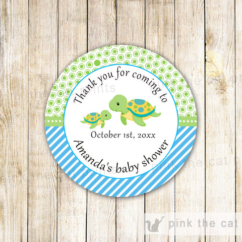 40 Stickers Favor Label Turtle Baby Shower