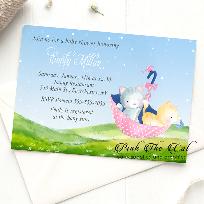 Umbrella kitten invitations pink printable