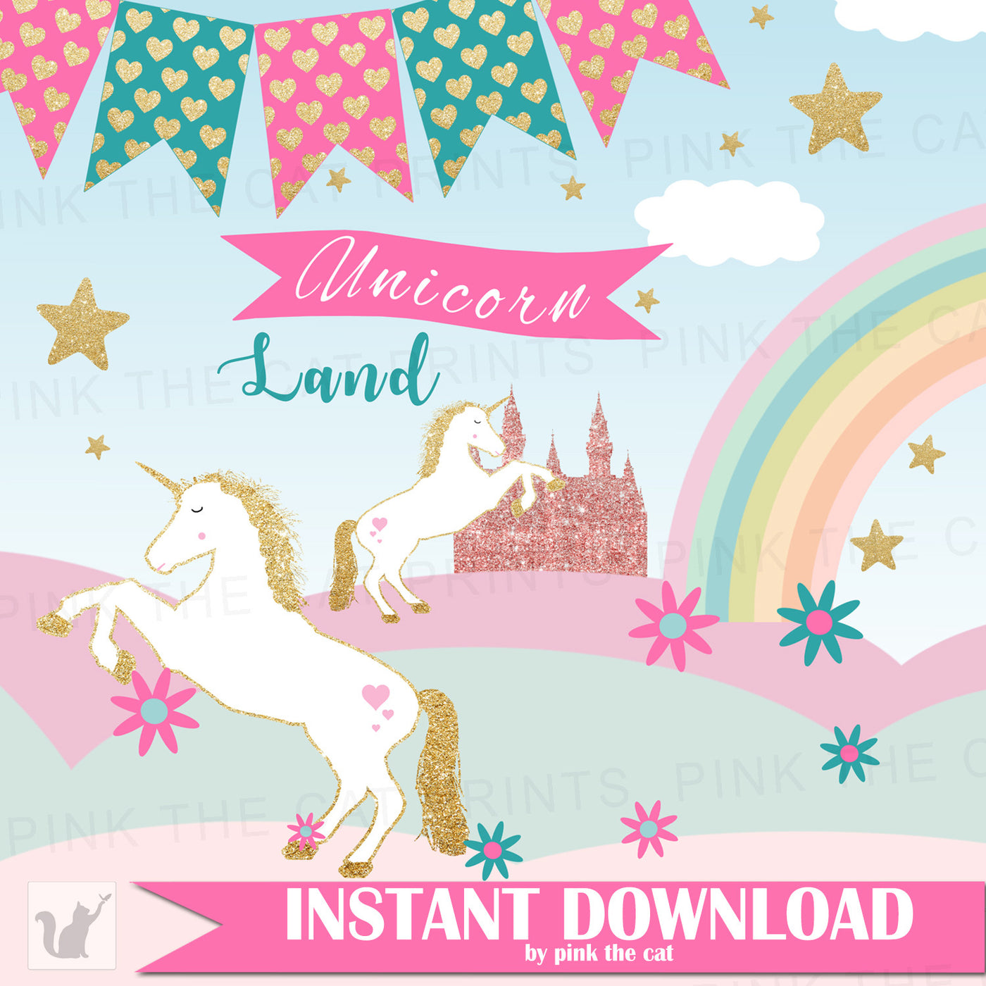 Unicorn Clipart Amp Background Papers Pink The Cat