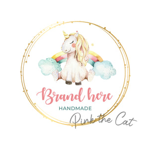 Premade rainbow unicorn logo design