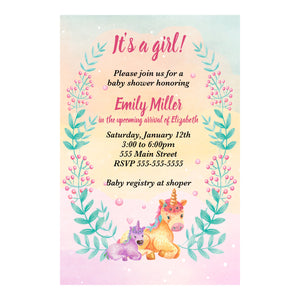 Watercolor unicorn invitation girl baby shower personalized printable