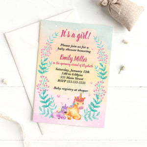 Watercolor unicorn invitation (set of 30)