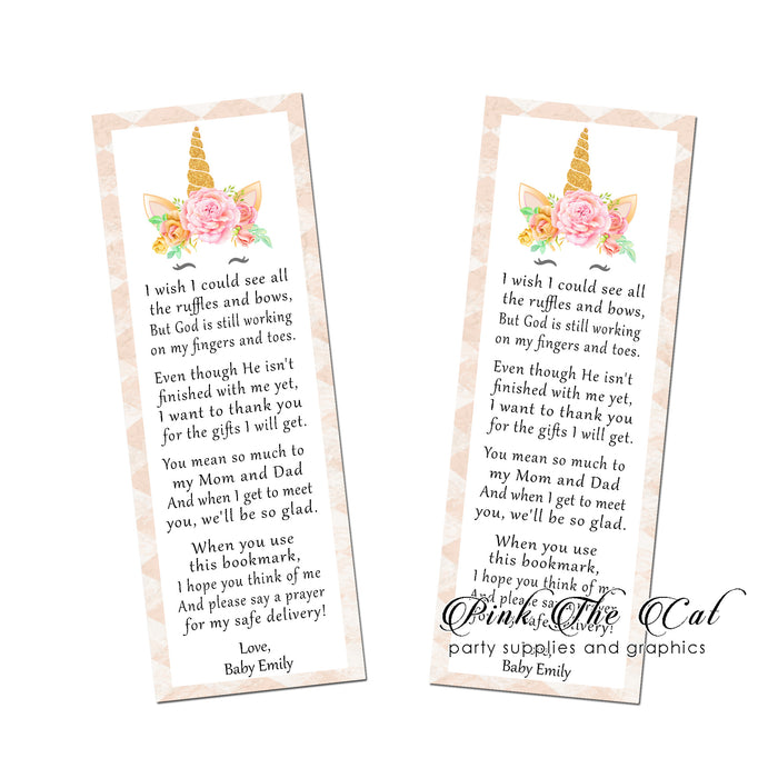 Unicorn pink bookmarks (set 25)