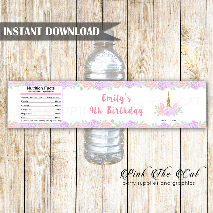 Unicorn bottle label pink purple printable