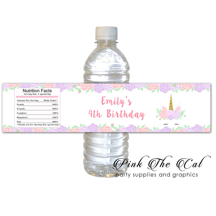 Unicorn floral bottle label (set of 30)