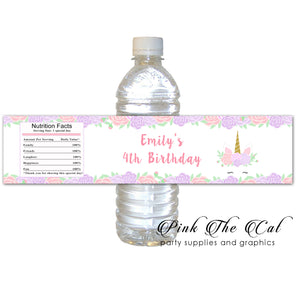 Unicorn floral bottle label printable