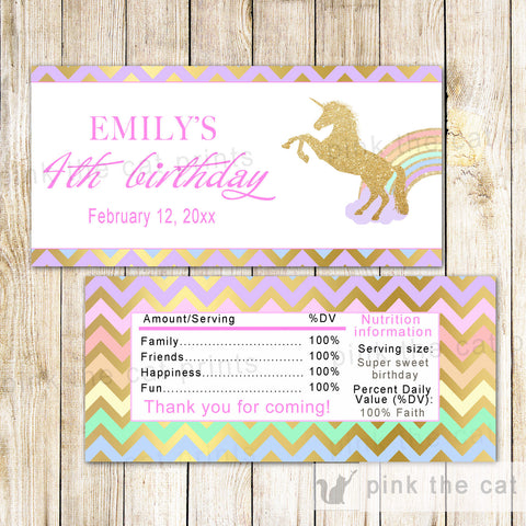 50 Candy Bar Wrappers Unicorn Birthday Gold Glitter