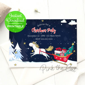 Unicorn invitation christmas party printable