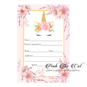 30 unicorn floral pink invitations fill in the blanks