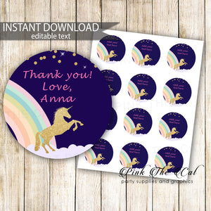 Gold Unicorn Gift Favor Label Birthday Baby Shower Printable