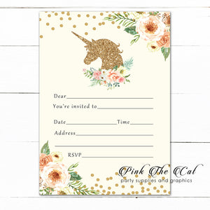 Unicorn Invitation Fill In Blank Peach Gold Birthday Printable