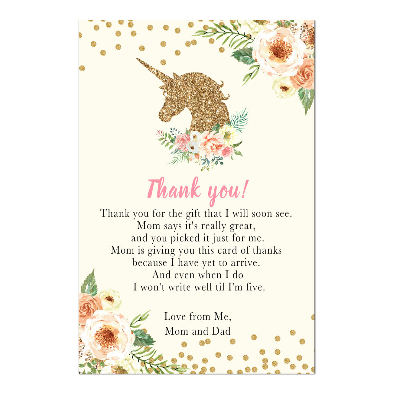 Unicorn thank you cards baby shower peach gold printable