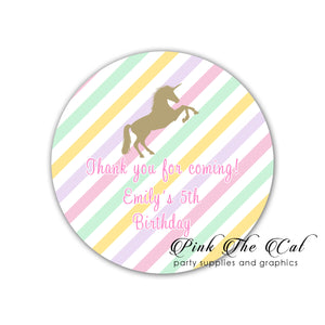 Pink gold striped unicorn stickers (set of 70)