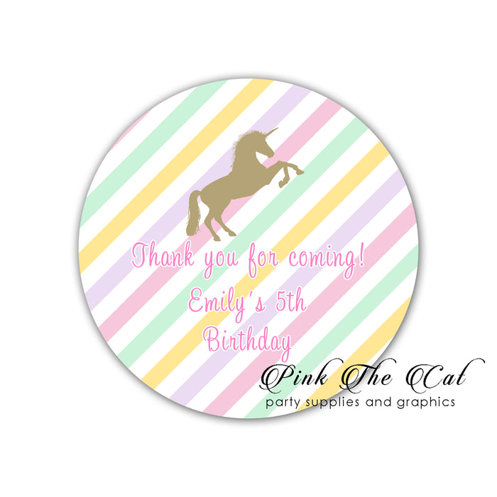 Pink gold unicorn stickers labels printable