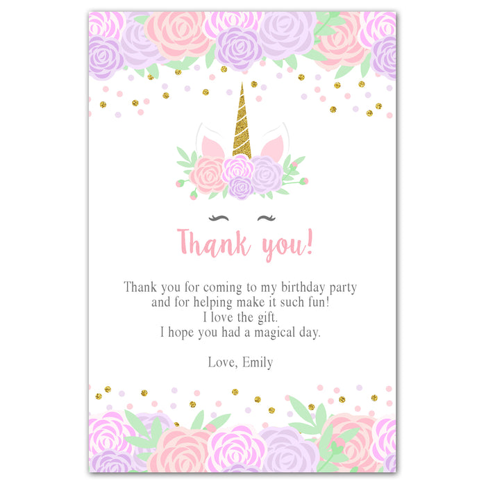 30 thank you cards unicorn birthday pink purple