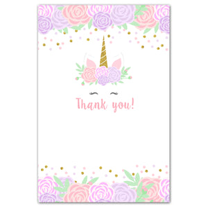 30 unicorn thank you cards purple pink blank