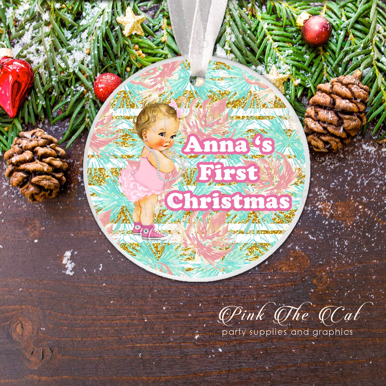 personalized first christmas tree ornament baby girl pearls